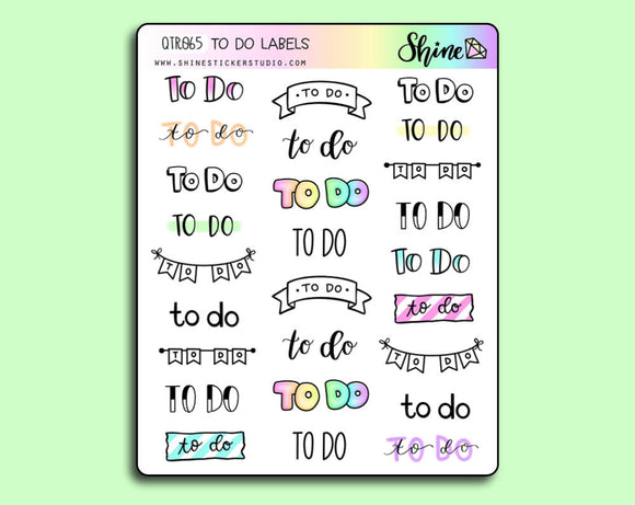To Do Labels Bujo Stickers
