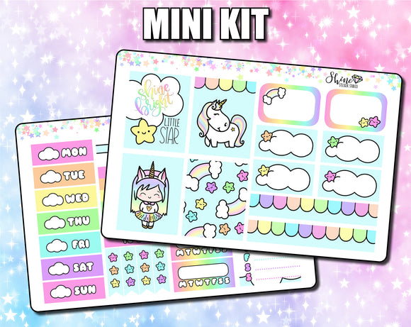 Luna & Star Shine Bright Unicorn - Mini Sticker Kit Print Pression Weeks