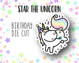 Star the Unicorn Birthday Celebration DIE CUT