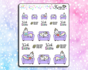 Star the Unicorn Stays Home Deco Stickers