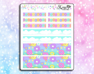 Flower Garden Hobonichi Washi Strip Stickers