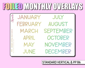 FOILED Monthly Overlay Stickers - Standard Vertical - Print Pression - Hobonichi