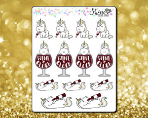 CLEARANCE Star Unicorn Wine o' Clock Stickers