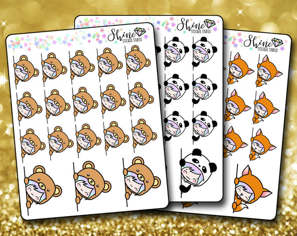 Luna Peekaboo Stickers - Bear, Panda, Fox Stickers