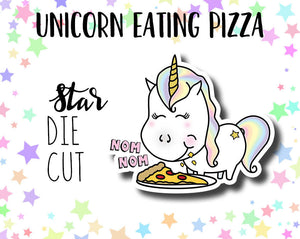 Star the Unicorn Eating Pizza DIE CUT