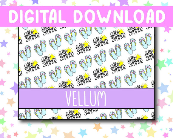 Hello Summer Vellum Patterned Paper Digital Download