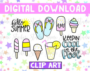 Die Cuts/Clip Art Digital Download - Pool Day
