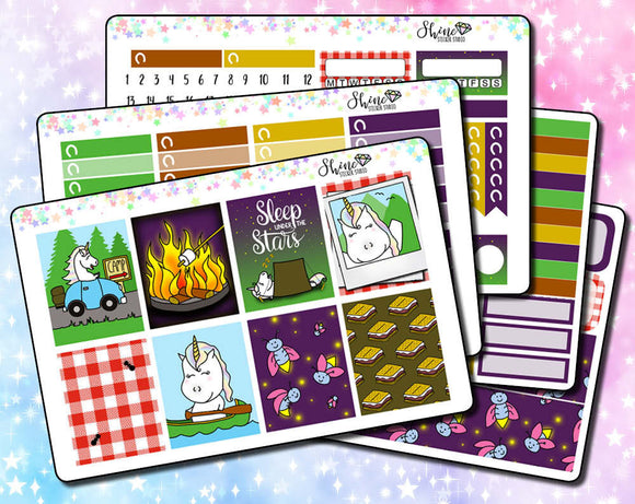 Star the Unicorn Goes Camping Weekly Sticker Kit
