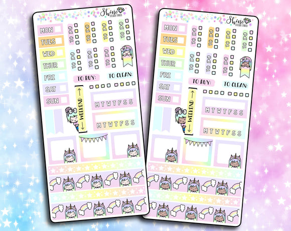 Luna Unicorn Pastel Rainbow - Hobonichi Weeks Sticker Kit
