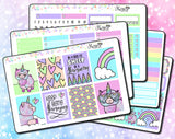 Cute Llamacorn - Weekly Sticker Kit