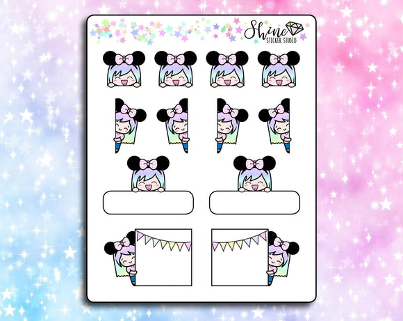 Luna Mouse Ears Peekaboo Stickers