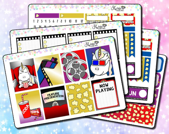 Star the Unicorn Goes to the Movies Weekly Sticker Kit