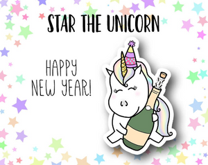 Star the Unicorn New Year DIE CUT