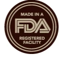Manufactured to 100% FDA standards in a registered Facility.