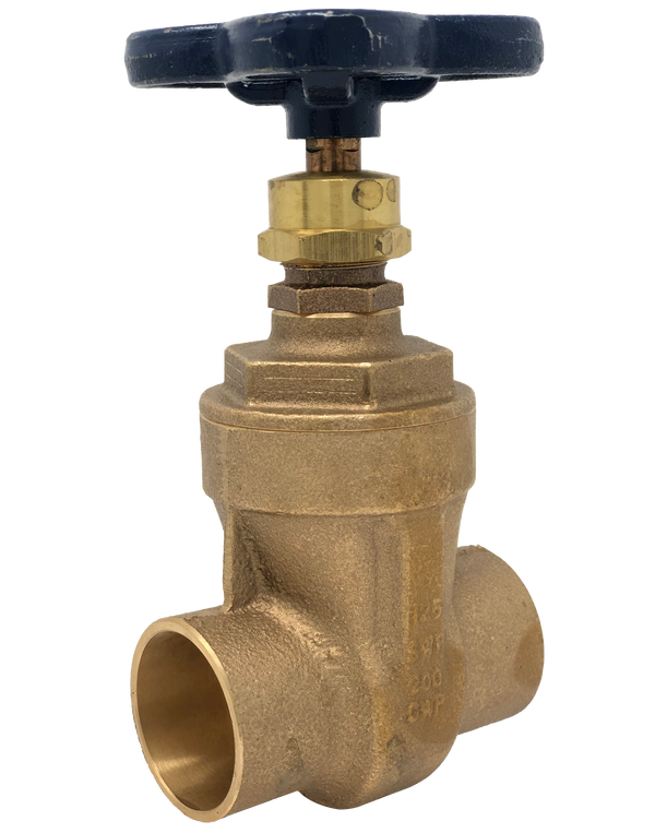 113C Class 125 BRONZE GATE VALVE SOLDER JOINT ENDS SCREW-IN BONNET NON-RISING STEM SOLID WEDGE