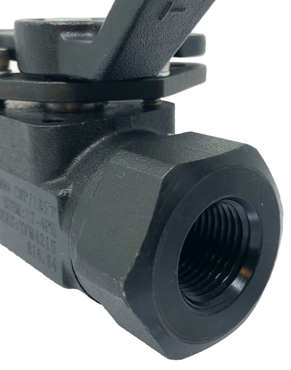 "C-336TT 3-PIECE FORGED STEEL BALL VALVE 6000 WOG CLASS 2500 THREADED ENDS 1/4"" TO 1 1/2"": FULL PORT 2"": STANDARD PORT ISO 5211 MOUNTING PAD NACE MR-01-75"