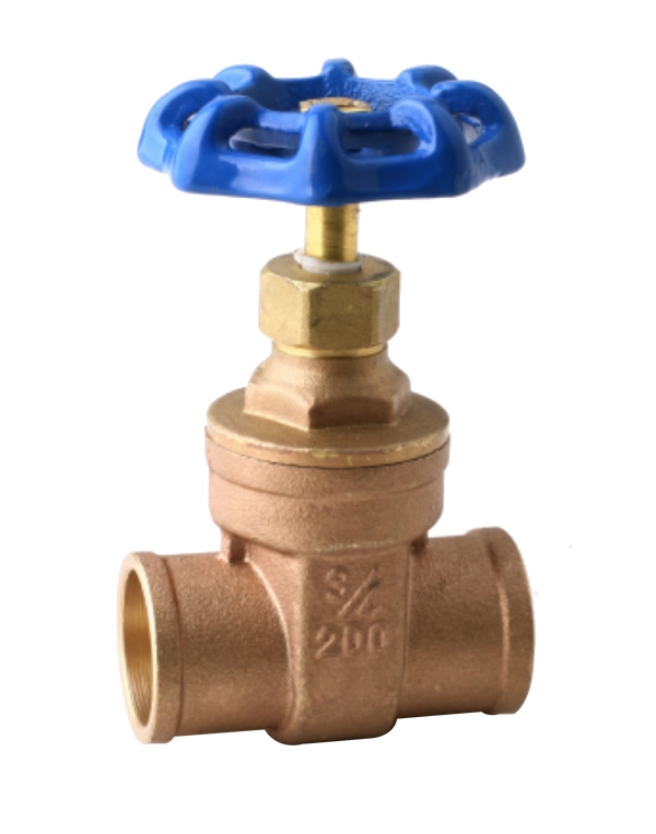 NL-102C CLASS 200 LEAD FREE BRASS GATE VALVE REDUCE PORT SOLDER JOINT ENDS SCREW-IN BONNET RISING STEM SOLID WEDGE