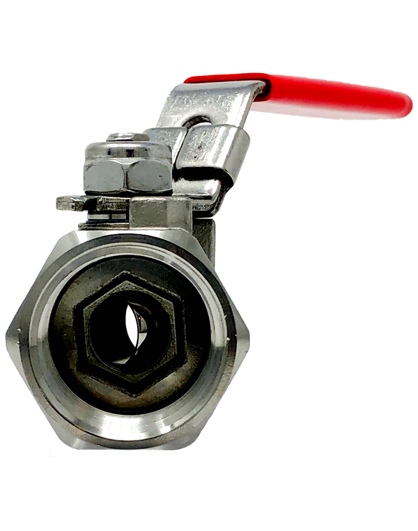 S-121T  1000 WOG 1-PIECE STAINLESS STEEL BALL VALVE REDUCED PORT THREADED ENDS W/LOCKING LEVER HANDLE