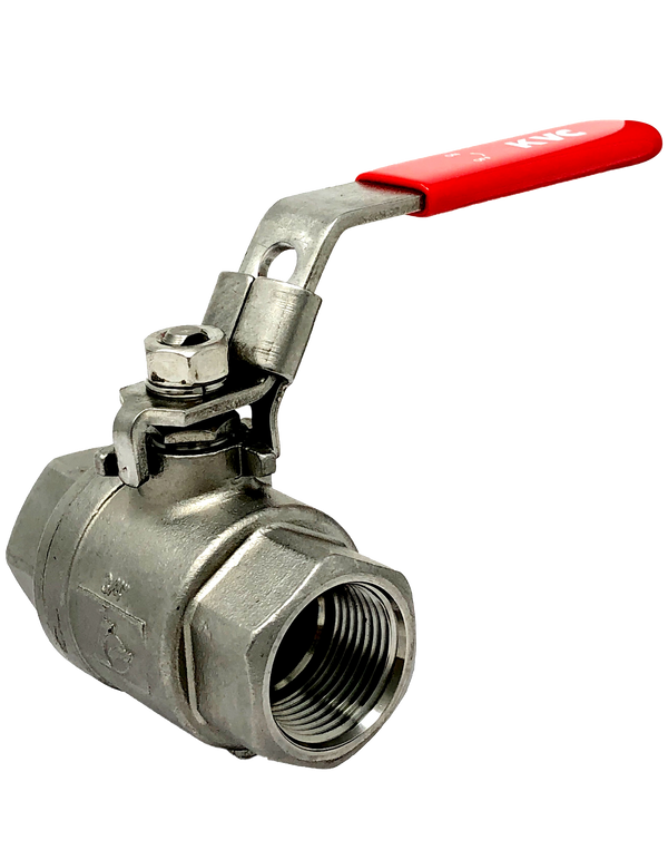 S-201T  1000 WOG 2-PIECE STAINLESS STEEL BALL VALVE FULL PORT THREADED ENDS W/LOCKING LEVER HANDLE