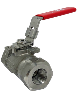 S-206TMLW 6000 WOG 2-PIECE STAINLESS STEEL BALL VALVE THREADED ENDS W/ MOUNTING PAD LOCKING LEVER HANDLE