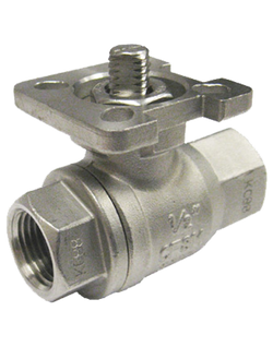 S-231TD 1000 WOG 2-PIECE FULL PORT STAINLESS STEEL BALL VALVE THREADED ENDS SQUARE STEM ISO 5211 DIRECT ACTUATOR MOUNTING PAD