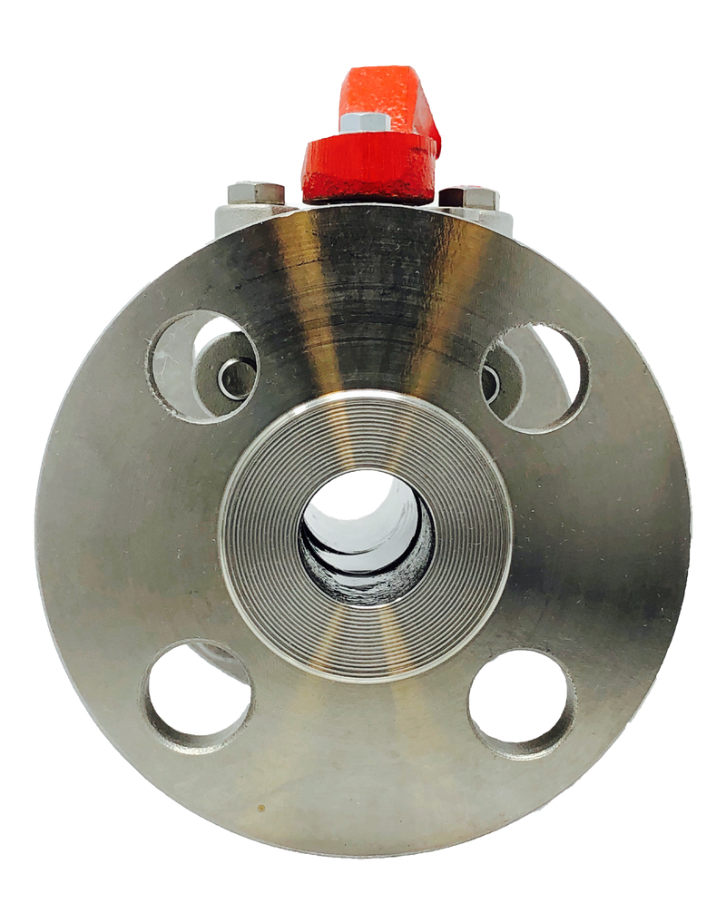 S-235F CLASS 150 2-PIECE FULL PORT  STAINLESS STEEL BALL VALVE FLANGED ENDS ISO 5211 MOUNTING PAD