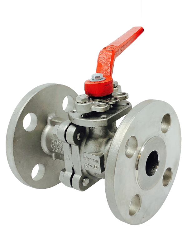 S-236F CLASS 300 2-PIECE FULL PORT  STAINLESS STEEL BALL VALVE FLANGED ENDS ISO 5211 MOUNTING PAD