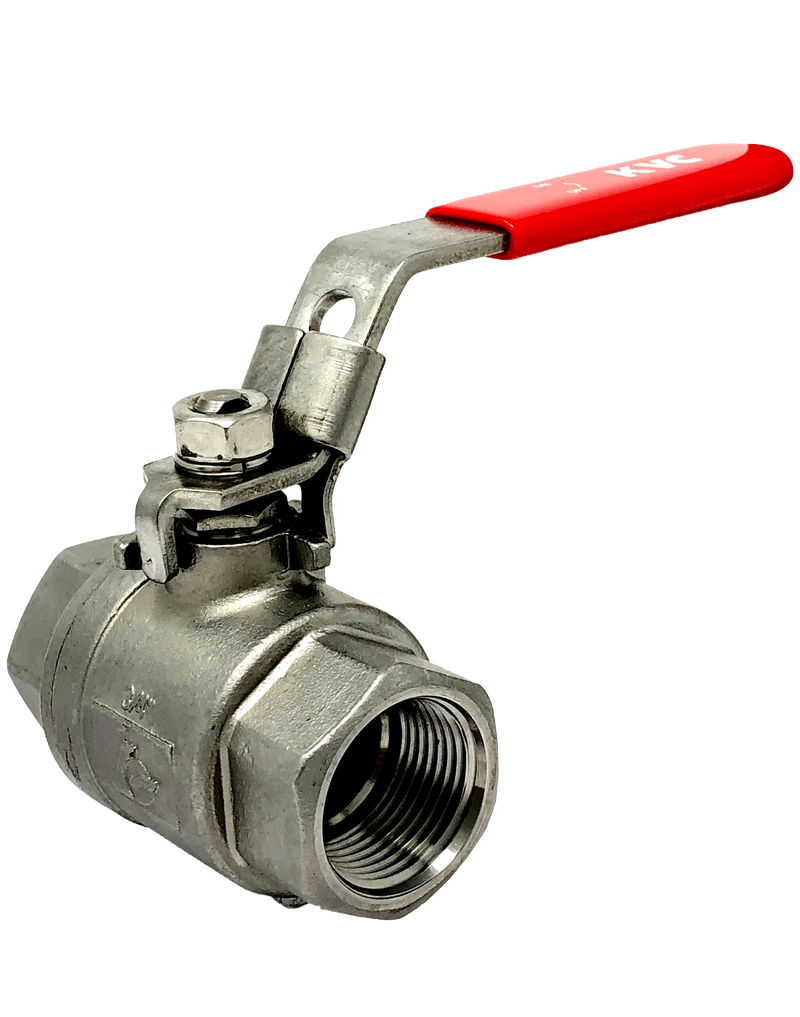 "S-292T  2-PIECE STAINLESS STEEL BALL VALVE FULL PORT THREADED ENDS W/LOCKING LEVER HANDLE 1/4"" TO 2"": 2000 WOG,  2 1/2"" TO 4"": 1500 WOG"