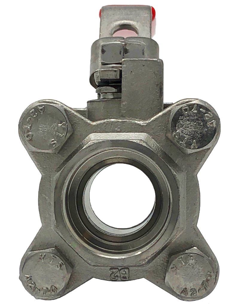 S-301S 1000 WOG 3-PIECE STAINLESS STEEL BALL VALVE FULL PORT SOCKET WELD ENDS WITH LOCKING LEVER HANDLER