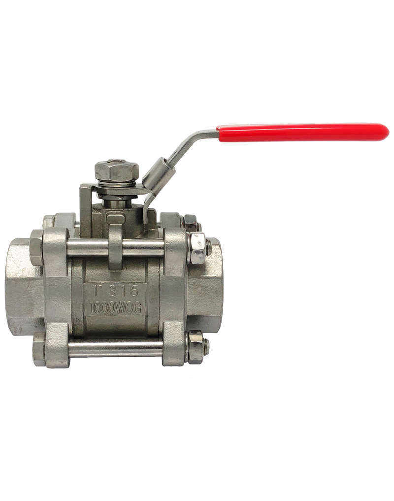 S-301T 1000 WOG 3-PIECE STAINLESS STEEL BALL VALVE FULL PORT THREADED ENDS WITH LOCKING LEVER HANDLER