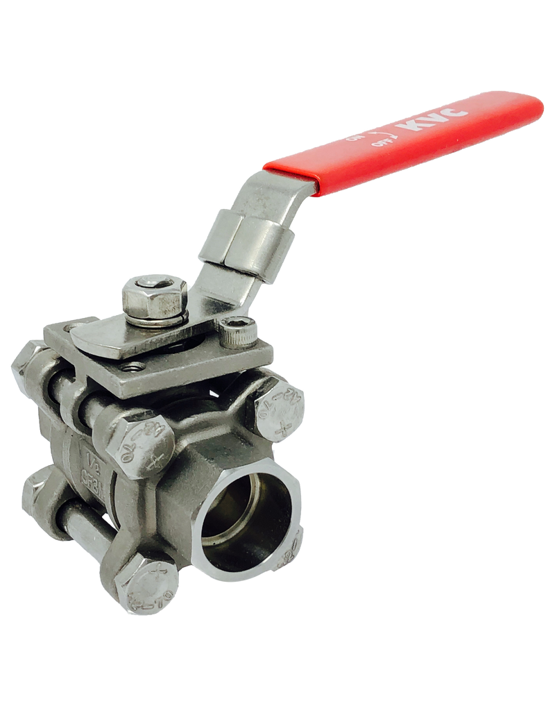 "S-332S 3-PIECE FULL PORT STAINLESS STEEL BALL VALVE SOCKET WELD ENDS, 1/4"" TO 2"": 2000 WOG 2 1/2"" TO 3"":1500 WOG ISO 5211 MOUNTING PAD"