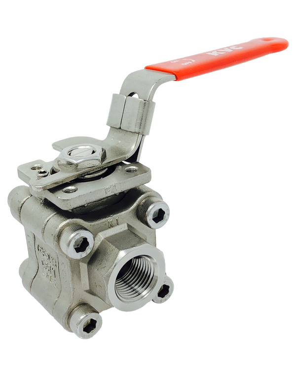 S-362T 2000 WOG 3-PIECE FULL PORT STAINLESS STEEL BALL VALVE THREADED ENDS ENCLOSED BOLT TYPE ISO 5211 MOUNTING PAD