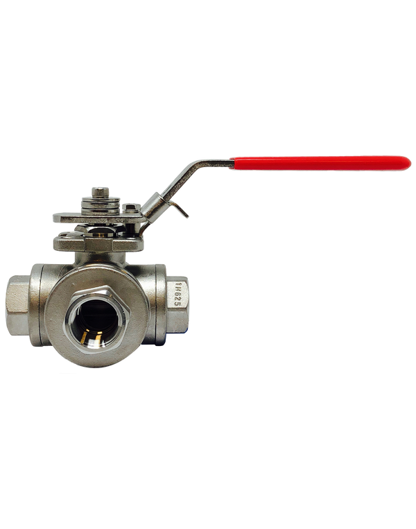 S-431TDL/T 1000 WOG 3 WAY FULL PORT STAINLESS STEEL BALL VALVE THREADED ENDS T/L PORT ISO 5211 DIRECT ACTUATOR MOUNTING PAD