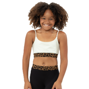 Band Bra Cami w/ Brown/Black Leopard Elastic Band for Girls 10-14