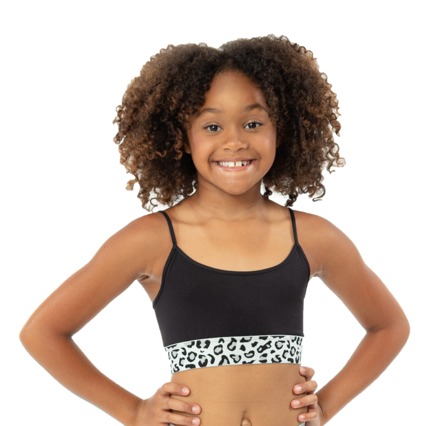 Band Bra Cami w/ Black/White Leopard Elastic Band for Girls 10-14