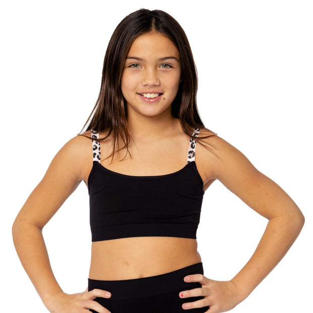 Band Bra Cami w/ Pink Leopard Elastic Straps for Tweens 7-14