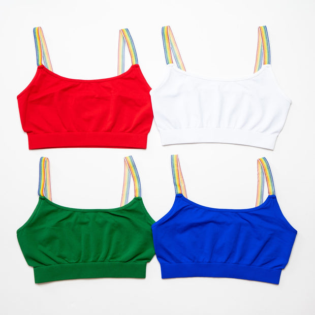 Band Bra Cami w/ Rainbow Elastic Straps for Tweens 7-14
