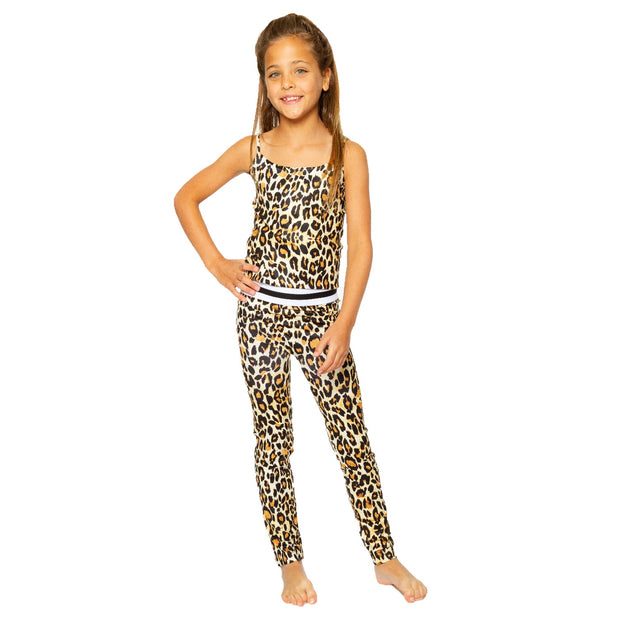 Brown Leopard Leggings with Striped Waist Band for Little Girls 4-6x