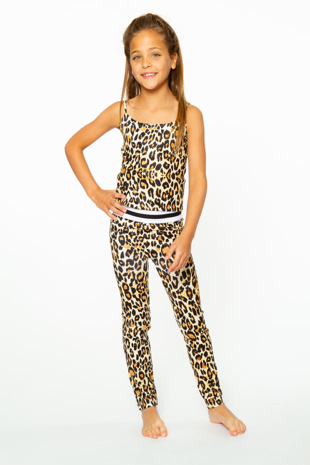 Brown Leopard Leggings with Striped Waist Band for Tweens 7-14