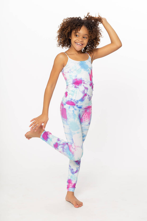Blue Turquoise Purple Tie Dye Print Little Girls Leggings