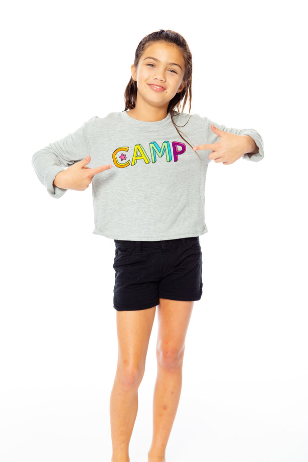 "Butter Fleece Crop Sweatshirt - ""Colorful CAMP"" for Little Girls 4-6x"