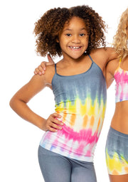 Charcoal Tie Dye Printed Full Cami Girls 7-10