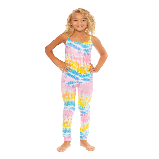 Drippy Pastel Tie Dye Leggings for Girls 7-10