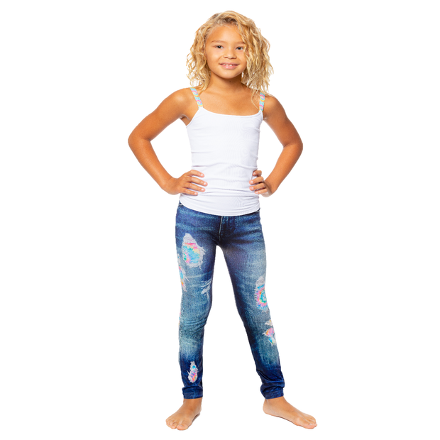 Denim Jean Printed Leggings w/ Tie Dye Patches for Little Girls 4-6x