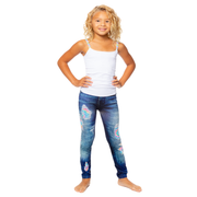 Denim Jean Printed Leggings w/ Tie Dye Patches for Girls 7-10