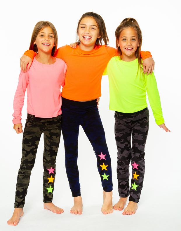 Navy Camo Knit Leggings with Neon Star embellshiment for Little Girls 4-6x