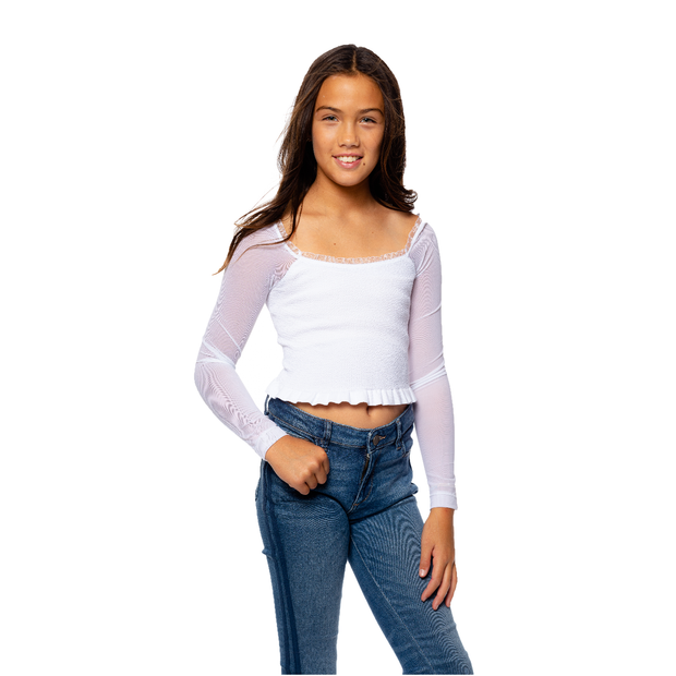 White Ruched Top w/ Mesh Sleeves Crop Top for Girls 10-14