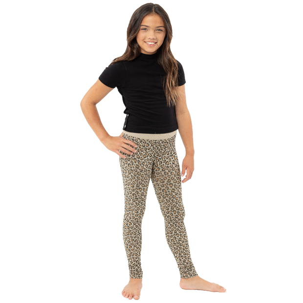 Brown Leopard Knit Leggings for Girls 7-14