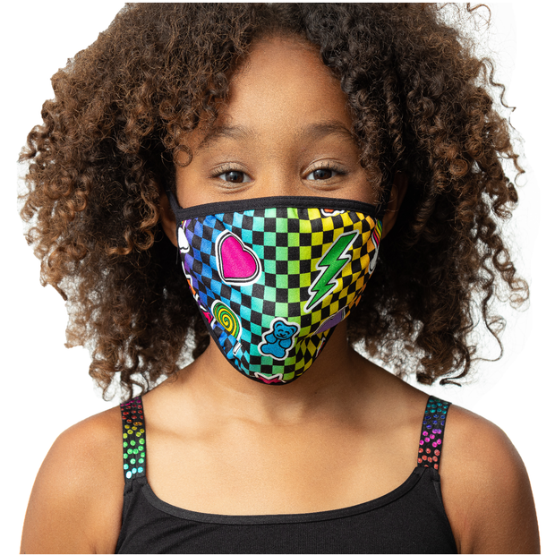 "Fashion KIDS Face Masks ""RAINBOW CHECKERED"""