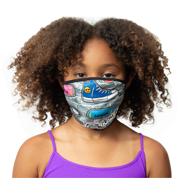 "Fashion KIDS Face Masks ""SCHOOL/SPLATTER PAINT"""